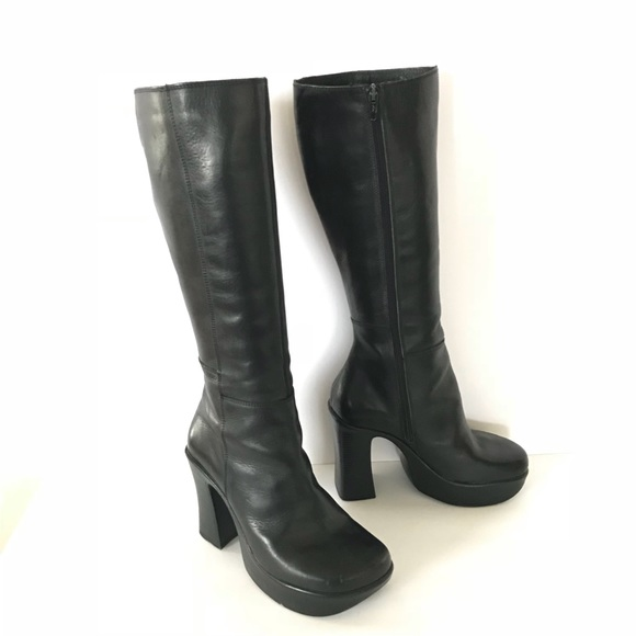 9d829a0314 90s B2 Tall Black Leather Platform Boots 37 6.5.  M_5ad6543afcdc314405997413. Other Shoes you may like. Red Black 80s Heeled  ...